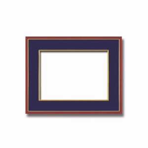 【和額】赤い縁に金色フレーム 日本画額 色紙額 木製フレーム ■赤金 色紙F6サイズ(410×318mm) 紺