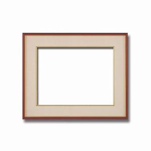 【和額】赤い縁に金色フレーム 日本画額 色紙額 木製フレーム ■赤金 色紙F8サイズ(455×380mm) ベージュ