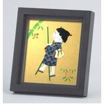 【ミニ色紙額】1/4色紙用 スタンド付き・壁掛け可能■和1/4色紙(押絵付き)136×121mm ブラック