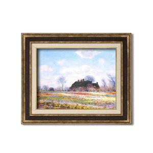 ダークブラウンアンティーク額 【額装品】世界の名画9573 F6 モネ「花畑」
