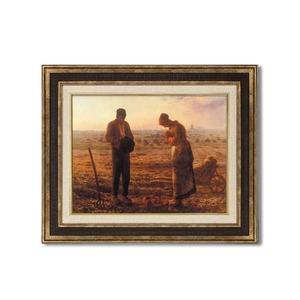 ダークブラウンアンティーク額 【額装品】世界の名画9573 F6 ミレー「晩鐘」