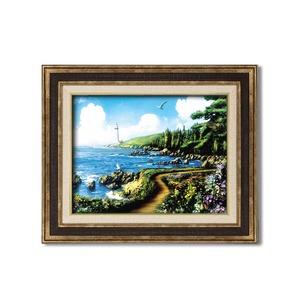 ダークブラウンアンティーク額 【額装品】世界の絵画 ■アラン・ギアナ絵画額9573F6「運命の岬」