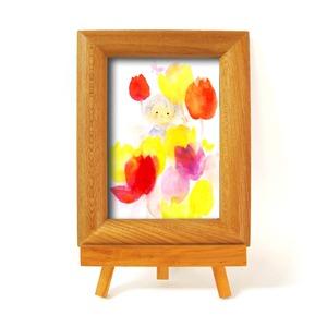 いわさきちひろ 心温まるナチュラル木製フォトフレーム イーゼル付き (子ども) - 拡大画像
