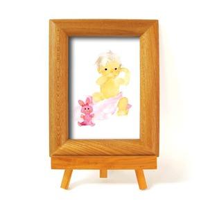 いわさきちひろ 心温まるナチュラル木製フォトフレーム イーゼル付き (ピンクのウサギと赤ちゃん) - 拡大画像