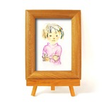 いわさきちひろ 心温まるナチュラル木製フォトフレーム イーゼル付き (ピンクのセーターの少女)