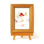 いわさきちひろ 心温まるナチュラル木製フォトフレーム イーゼル付き (貝殻と赤い帽子の少女)