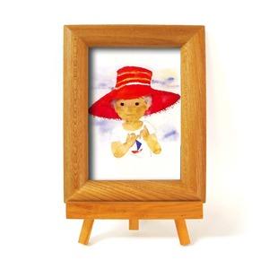 いわさきちひろ 心温まるナチュラル木製フォトフレーム イーゼル付き (赤い帽子) - 拡大画像
