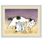 【風水額】【癒しネコ】愛情運・金運・健康運・人間関係向上 ■千春作 幸せのねこシリーズF4 安らぎのねこ