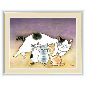 【風水額】【癒しネコ】愛情運・金運・健康運・人間関係向上 ■千春作 幸せのねこシリーズF6号 安らぎのねこ - 拡大画像