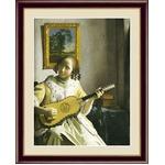 【フェルメールの代表作】謎多き画家 鮮やかな青色 ■ヨハネス・フェルメール(Johannes Vermeer)F4号 ギターを弾く女