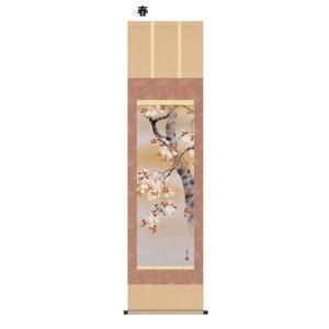 日本の四季の風情を醸し出す花鳥画掛軸 ■近藤 玄洋掛軸(尺三) 四季花鳥 春 - 拡大画像