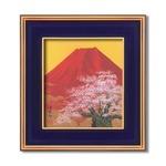 吉岡浩太郎色紙額 金雲赤富士桜