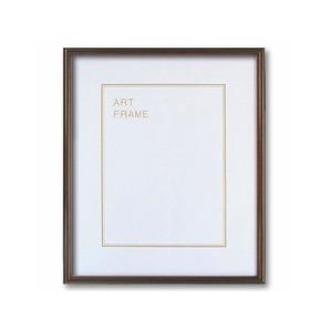 【木製額】色あせを防ぐUVカットアクリル 温かみのある木製フレーム デッサン額 半切サイズ(545×424mm)ブラウン - 拡大画像
