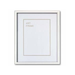 【木製額】色あせを防ぐUVカットアクリル 温かみのある木製フレーム デッサン額 半切サイズ(545×424mm)ホワイト - 拡大画像