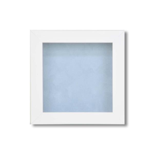 【ピンバッチ・缶バッチを飾れる額】壁掛け・スタンド付 紫外線やほこりや劣化から防ぐ 130角(130×130mm) ブルー