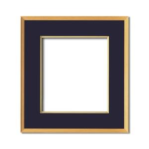 【日本画額】木製フレーム 和額 色紙額 色紙Fサイズ 木製日本画額色紙サイズ(273×242mm)紺 - 拡大画像