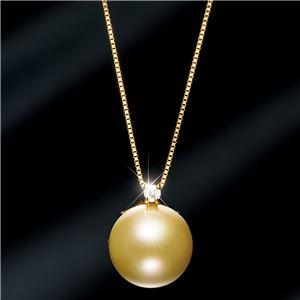 18金ゴールデンパール11mm珠ダイヤモンドペンダント/ネックレス - 拡大画像