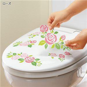 (まとめ) 壁にも貼れるトイレの消臭シート ローズ 【×3セット】 - 拡大画像