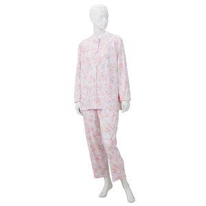 【訳あり・在庫処分】 きほんのパジャマ(寝巻き) 【婦人用 M】 綿100% マジックテープ付き ズボン/前開き (介護用品) ピンク - 拡大画像