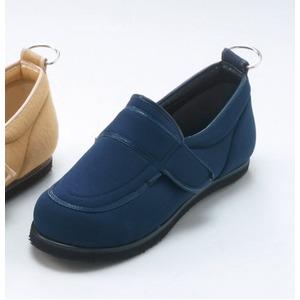 介護靴/リハビリシューズ ネイビー(紺) LK-1(外履き) 【片足のみ 24.5cm】 3E 左右同形状 手洗い可/撥水 (歩行補助用品) 日本製 - 拡大画像