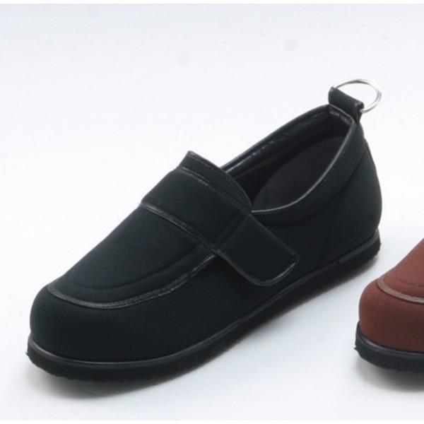 介護靴/リハビリシューズ ブラック(黒) LK-1(外履き) 【片足のみ 25.5cm】 3E 左右同形状 手洗い可/撥水 (歩行補助用品) 日本製