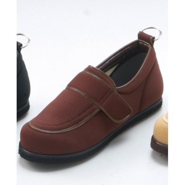 介護靴/リハビリシューズ ブラウン LK-1(外履き) 【片足のみ 25.5cm】 3E 左右同形状 手洗い可/撥水 (歩行補助用品) 日本製