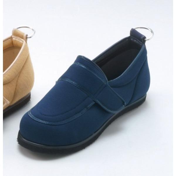 介護靴/リハビリシューズ ネイビー(紺) LK-1(外履き) 【片足のみ 28cm】 3E 左右同形状 手洗い可/撥水 (歩行補助用品) 日本製