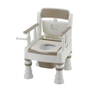 リッチェル 樹脂製ポータブルトイレ ポータブルトイレきらくミニでか(1)MS型アイボリー 45601 - 拡大画像