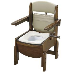 リッチェル 木製ポータブルトイレ 木製トイレキラク コンパクト肘掛跳上(1)普通便座 18550 - 拡大画像