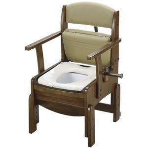 リッチェル 木製ポータブルトイレ 木製トイレきらく コンパクト (1)普通便座 18510 - 拡大画像