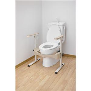 アロン化成 トイレ用手すり 洋式トイレフレームSハネアゲR-2(2)プラスチック製ヒジ掛 533-086 - 拡大画像