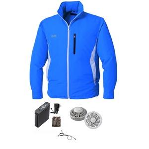 空調服 フード付き ポリエステル製長袖ブルゾン リチウムバッテリーセット BP-500BFC04S4 ブルー 2L - 拡大画像