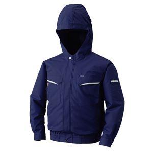 空調服 フード付綿・ポリ混紡 長袖ワークブルゾン リチウムバッテリーセット BK-500FC03S4 ネイビー 2L - 拡大画像