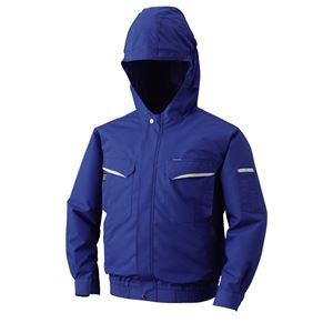空調服 フード付綿・ポリ混紡 長袖ワークブルゾン リチウムバッテリーセット BK-500FC04S6 ブルー 4L - 拡大画像