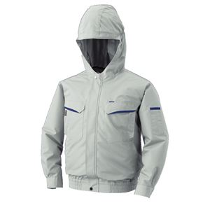 空調服 フード付綿・ポリ混紡 長袖ワークブルゾン リチウムバッテリーセット BK-500FC06S4 シルバー 2L - 拡大画像