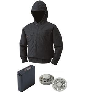 空調服 フード付綿薄手空調服 大容量バッテリーセット ファンカラー:グレー 1410G22C69S5 【カラー:チャコール サイズ:XL】 - 拡大画像
