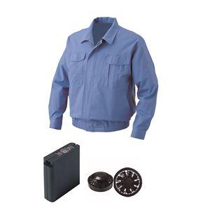 空調服 綿難燃空調服 大容量バッテリーセット ファンカラー:ブラック 1730B22C24S2 【カラー:ライトブルー サイズ:M 】 - 拡大画像