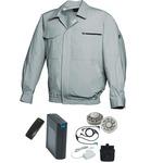 空調服/作業着 【XL モスグリーン シルバーファン】 バッテリーセット 綿100% 吸収性 着心地・肌触り抜群 『FAN FIT FF91800』
