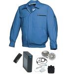 空調服/作業着 【XL ライトブルー シルバーファン】 バッテリーセット 綿100% 吸収性 着心地・肌触り抜群 『FAN FIT FF91800』