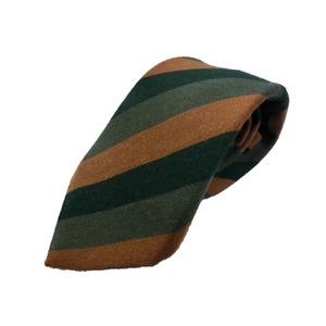 ウール混秋冬シルクネクタイ Clarkプレミアム 手縫い仕立て 西陣ネクタイ ブラウン×グリーンストライプ  - 拡大画像