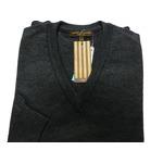 イタリア製 SIMONE DELLANNA EXTRA FINE MARINO WOOLVネックセーター チャコールグレー L