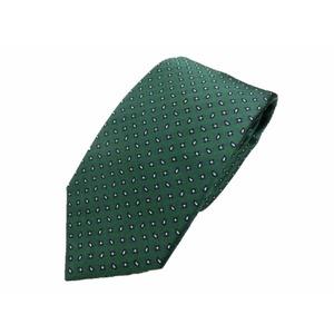 日本製シルク100%ネクタイ グリーン ペイズリー&小紋  - 拡大画像