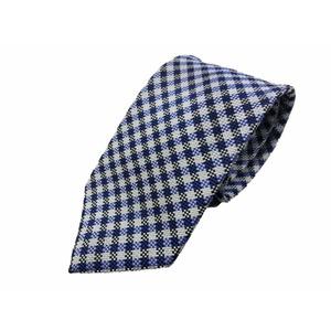 ワンランク上の日本製シルク100%ネクタイ ブルーチェック  - 拡大画像