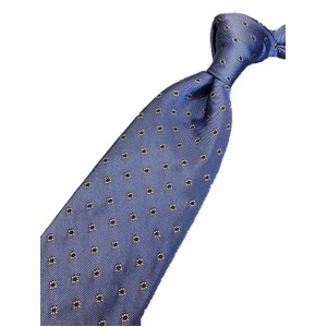 新作ネクタイ  日本製シルク100% スカイブルー 小紋