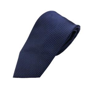 ネクタイ 水玉シリーズ 日本製シルク100% ネイビー×ブルー  - 拡大画像