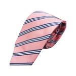 ネクタイ 肉厚織りストライプシリーズ 日本製シルク100% ピンク