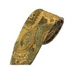 グランネクタイ 西陣手縫いネクタイ 希少生地シリーズ ペイズリー ブラウンゴールド