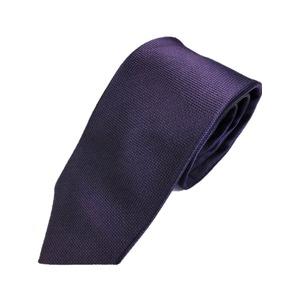 ネクタイ 無地織柄シリーズ 日本製シルク100% ダークパープル  - 拡大画像