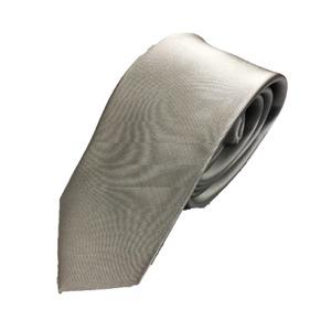 スマートタイ 無地コレクション日本製シルク100%ネクタイ サテンシルバー無地  - 拡大画像