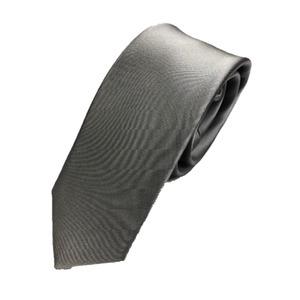 スマートタイ 無地コレクション日本製シルク100%ネクタイ サテングレー無地  - 拡大画像